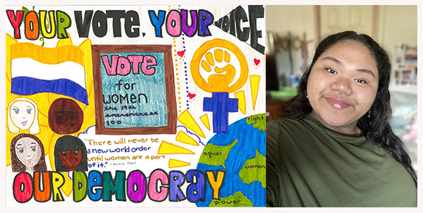 Drawing of women and symbols of voting around the world (left), photo of artist Jasmine Reclusado, (right).