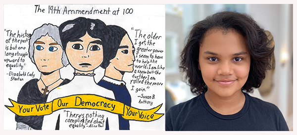 Alt text: Drawing of three women who played a role in the Women's Suffrage Movement with a quote from each (left), photo of artist Sanoe H., (right).