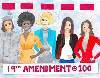 Drawing of women representing the 1940s, 1960s, 1980s, 2000s, and 2020.