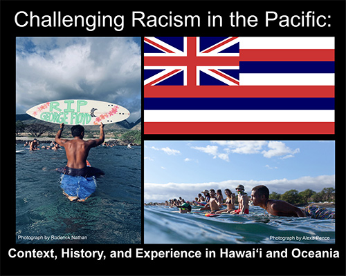 "Collage of images: Hawaii state flag and two photos of people on surfboards in the ocean, one holding up a surfboard painted with: ""RIP George Floyd."""
