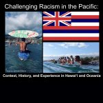 """Collage of images: Hawaii state flag and two photos of people on surfboards in the ocean, one holding up a surfboard painted with: """"RIP George Floyd."""""""