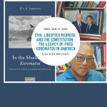 """Photo collage featuring the cover of the book """"In the Shadow of Korematsu: Democratic Liberties and National Security"""" by Eric K. Yamamoto."""