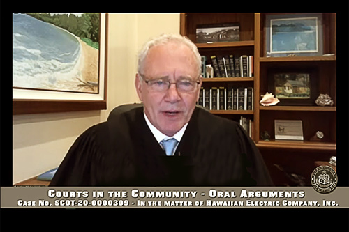 Hawaii Supreme Court Associate Justice Michael D. Wilson participating remotely in oral argument, May 7, 2021.