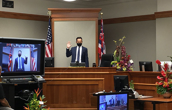 Jeffrey W. Ng is taking the oath of office to become District Family Judge of the Third Circuit on May 5, 2021.