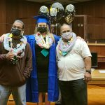 Three participants at the June 17, 2021 graduation ceremony celebrate their success and achievements in completing the DWI Court program.