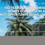 """Photo looking up at palm trees, mountain, and sky with title of presentation, date, time, and words """"100 Years of the Hawaiian Homes Commission Act: Legacy, Opportunities, Challenges Wednesday, June 30, 2021, 5:30-7:00 PM (HST)Presented by King Kamehameha V Judiciary History Center and Ulu Lehua Scholars Program"""""""