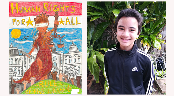 """Drawing of Lady Justice and words """"Human Rights for All – Rile of the Law"""" (left), photo of artist Aiden Lopes (right)."""