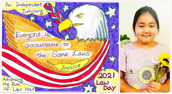 """Drawing of an American eagle with words """"An Independent Judiciary, Everyone is Accountable to the Same Laws, Justice Advancing the Rule of Law Now"""" (left), photo of artist Anna Kang (right)."""