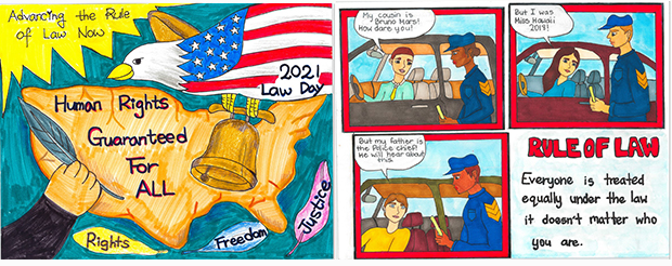 """Drawing of the U.S. Mainland with the words """"Human Rights Guaranteed For All"""" down the middle and an eagle decorated with stars and stripes flying over by artist Julie Kang (left), and drawing of three traffic stop scenes with drivers in their cars saying things to try to influence the police officer not to give them a ticket by artist Kiana Wysocki (right)."""