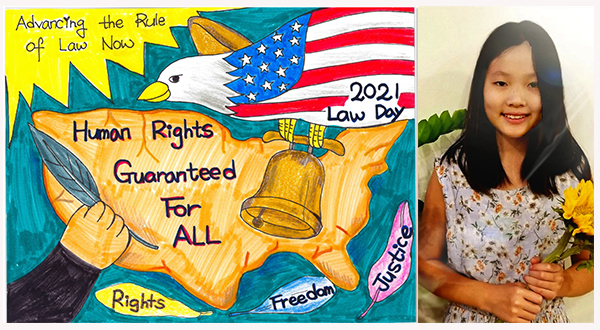 """Drawing of the U.S. Mainland with the words """"Human Rights Guaranteed For All"""" down the middle and an eagle decorated with stars and stripes flying over (left), photo of artist Julie Kang (right)."""