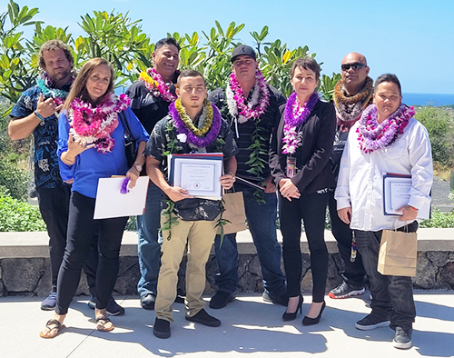 Image of Big Island Drug Court graduates and Judge Wendy DeWeese.