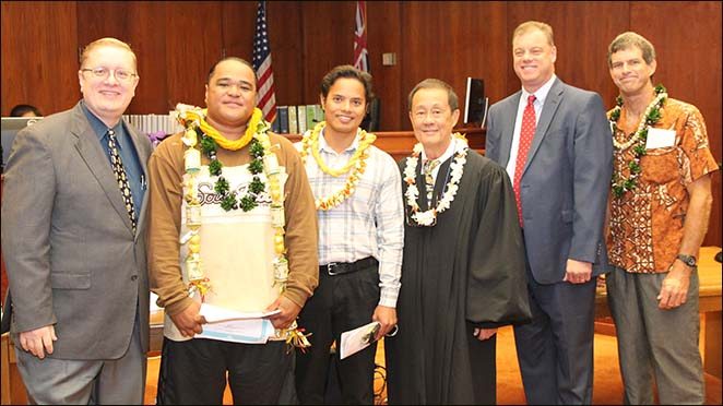 Pictured above from left to right are criminal defense attorney, Jonathan Burge, Graduate Asotau Uikirifi, Graduate Joseph Unpingo, Judge David Lo, DUI defense attorney and DWI Court Committee Member R. Patrick McPherson, and Graduate John Morgan.