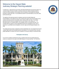 Hawaii StateJudiciary 20/20 Strategic Plan Website