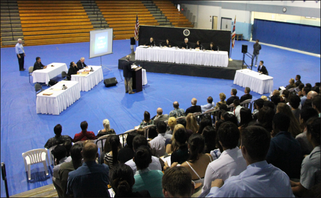 Approximately 600 students watched a Hawaii Supreme Court oral argument in Kailua-Kona. After the proceeding, the students had the opportunity to participate in a question-and-answer session with the justices.
