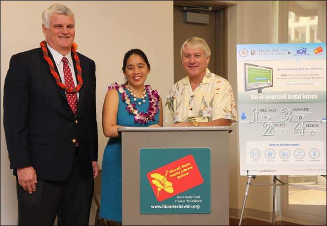 Chief Justice Mark Recktenwald, M.Nalani Fujimori Kaina, Executive Director of Legal Aid Society of Hawaii, and State Librarian Richard Burns introducing software that helps expand access to the courts in libraries statewide.