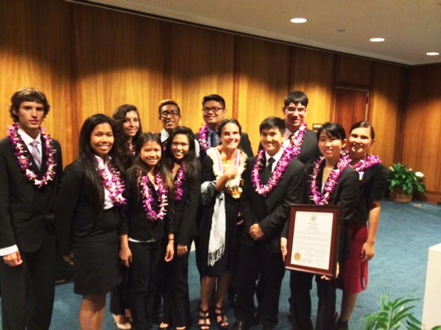 "The students of Mililani High's Advanced Placement Government and Politics class, and their teacher, Dr. Amy Perruso, were recognized by legislators as the state finalist in the ""We the People"" program."