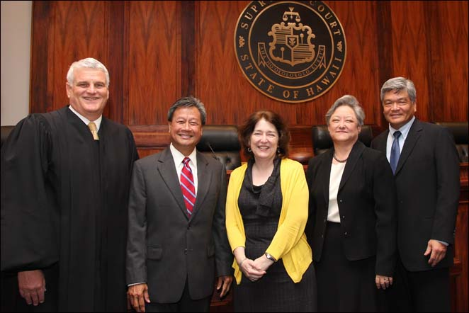 Pictured from left to right: Chief Justice Mark Recktenwald administered the oath of office to  First Circuit District Court Judges Clarence Pacarro and Hilary Benson Gagnes, Intermediate Court of Appeals Associate Judge Alexa Fujise and First Circuit Court Judge Bert Ayabe.