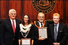 Chief Justice Mark Recktenwald and First Circuit Senior Family Court Judge Mark Browning expressed their appreciation to Mediation Center of the Pacific Director Tracey Wiltgen and Attorney William Darrah for the valuable service they are providing to divorcing couples as volunteer speakers for the Divorce Law in Hawaii program.