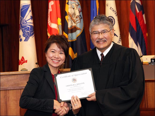 Chavela Balcita was recognized by Circuit Court Judge Edward Kubo for her work with local veterans.