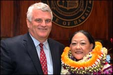 Trudy Senda, deputy chief judge of the District Court of the Fifth Circuit, was chosen by Chief Justice Mark Recktenwald as the 2014 Jurist of the Year and received the award at a ceremony held October 3 in the Hawaii Supreme Court courtroom.