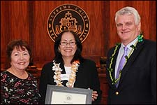 At the opening of the Hawaii State Bar Association's (HSBA) Appellate Section's Annual Meet and Greet, Chief Justice Mark E. Recktenwald (right) recognized Supreme Court Associate Justice Sabrina S. McKenna (center) as the recent recipient of the Daniel K. Inouye Trailblazer Award.  Senator Michelle N. Kidani (left) presented Justice McKenna with a certificate signed by the members of the Hawaii State Senate