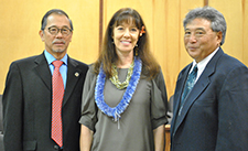 Presiding Big Island Veterans Treatment Court (BIVTC) Judges Ronald Ibarra (left) and Greg Nakamura (right) pose with guest speaker Col. (ret.) Debra Lewis at the opening ceremony for the BIVTC.