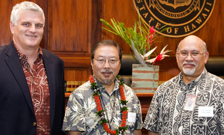 Photo of Chief Justice Mark Recktenwald, Wayne Sakai and Rod Maile