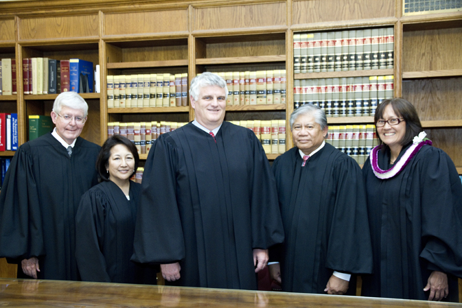 Chief Justice Recktenwald poses with the new Hawaii Supreme Court.