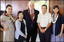 Crystal Brown, a child abuse survivor; Jasmine Mau Mukai, CJC Director; Chief Justice Mark Recktenwald, Hawaii State Supreme Court; Calvin Pang, President, Friends of the CJC-Oahu; and Kathy Muneno Thompson, program moderator and Friends of the CJC-Oahu Board Member.
