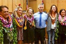 Kona Drug Court Judge Melvin Fujino with five program graduates.