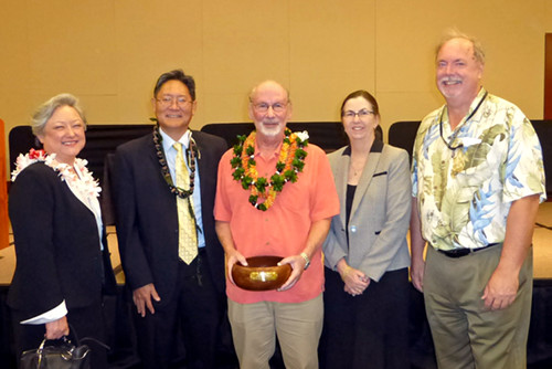 Hawaii Intermediate Court of Appeals Associate Judge Alexa Fujise (left), Chief Judge Craig Nakamura, Associate Judge Katherine Leonard, and Associate Judge Lawrence Reifurth (right) celebrate Associate Judge Daniel R. Foley's (center) selection for the Hawaii State Bar Association's 2016 Ki'e Ki'e Award.