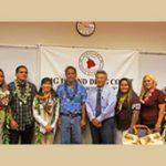 Hilo Drug Court Judge Greg Nakamura (center) with the seven graduates of Big Island Drug Court, December 8, 2016.