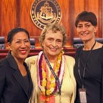 Beadie Kanahele Dawson, Esq., with Hawaiʻi State Judiciary Center for Alternative Dispute Resolution'Director Cecelia Chang and Research Analyst Anne Marie Smoke.