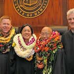 First Circuit Court judges Todd Eddins, Catherine Remigio, and Keith Hiraoka with Chief Justice Mark Recktenwald, April 7, 2017
