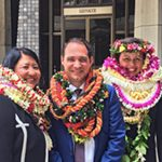 Darolyn Lendio Heim, Brian Costa, Trish Morikawa outside Senate Chambers 04/13/17.