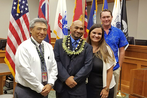 Hilo Judge Greg Nakamura, Veteran Treatment Court Graduate, Attorney Sheri Tavares, Vet Court Mentor.