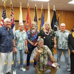 Big Island Veterans Treatment Court graduation in Kona, June 19, 2017. Third Circuit Chief Judge and Kona Big Island Veterans Treatment Court Presiding Judge Ronald Ibarra (far right) joins Veteran mentors to celebrate the successes of three program graduates (center).