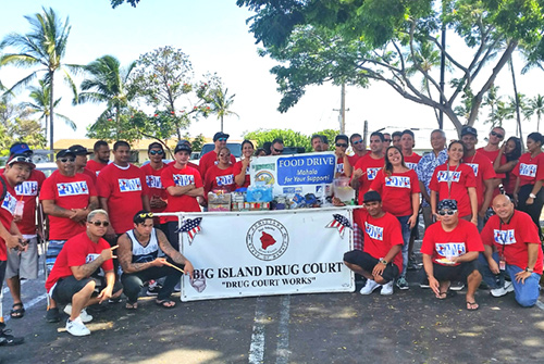 Kona Drug Court participants and staff food drive for Hawaii Island Foodbank, Kailua-Kona KTA Super Store, 05/26/2017.