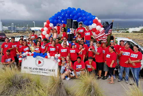 Friends of the Big Island Drug Court with their float at the Kailua-Kona Fourth of July parade, 2017.