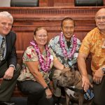 Chief Justice Mark Recktenwald, Deborah & Leonard Chong, therapy dog Pohaku, Administrative Director of the Courts Rodney Maile, 09-29-2017 Volunteer Recognition Ceremony.