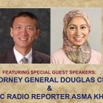 Photos of Attorney General Douglas Chin and National Public Radio reporter Asma Khalid.